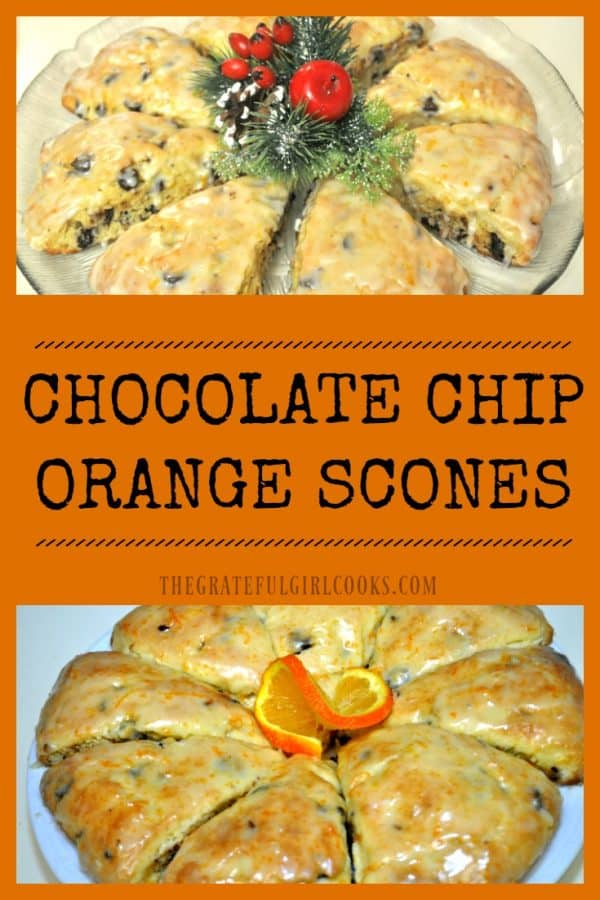 Chocolate chip orange scones with a citrus glaze, are a delicious and easy to make treat for breakfast, brunch or an afternoon snack!
