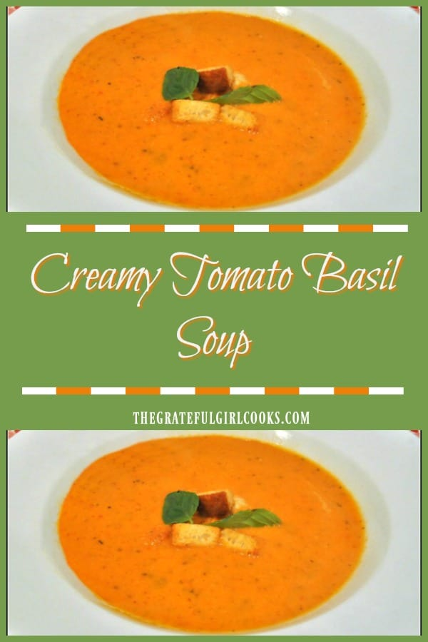 Nothing is as comforting as a hot bowl of soup on a cool day. This delicious, creamy tomato basil soup will really hit the spot, and it's simple to make!