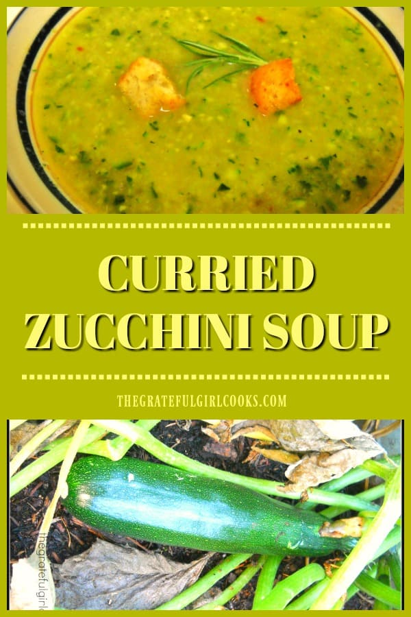 Simple curried zucchini soup has a chicken stock base, is flavored with onion, zucchini, curry powder, and potato. It's easy to make and very tasty!