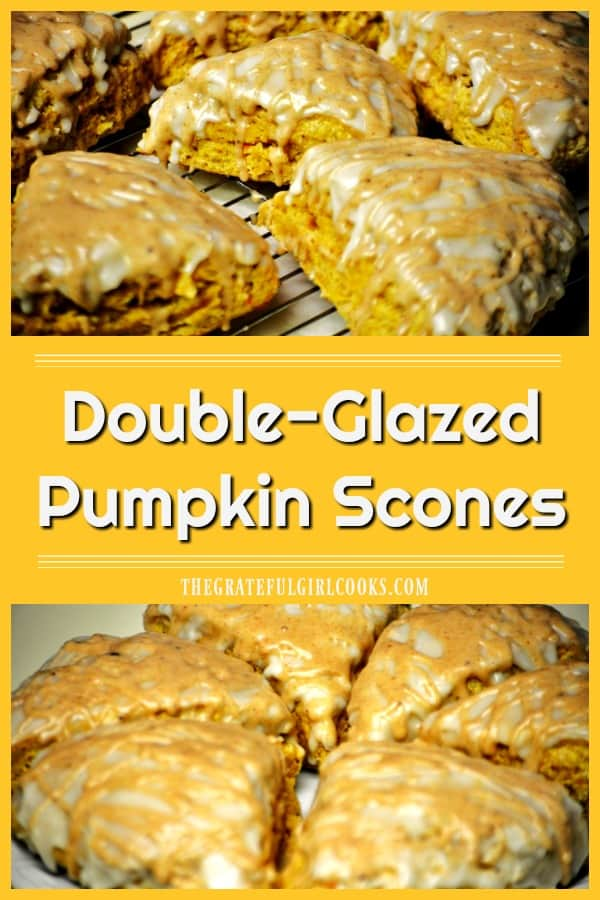 Fall is here, and it's time to enjoy delicious Double Glazed Pumpkin Scones (a Starbucks copycat recipe), with cinnamon spiced and powdered sugar glazes!