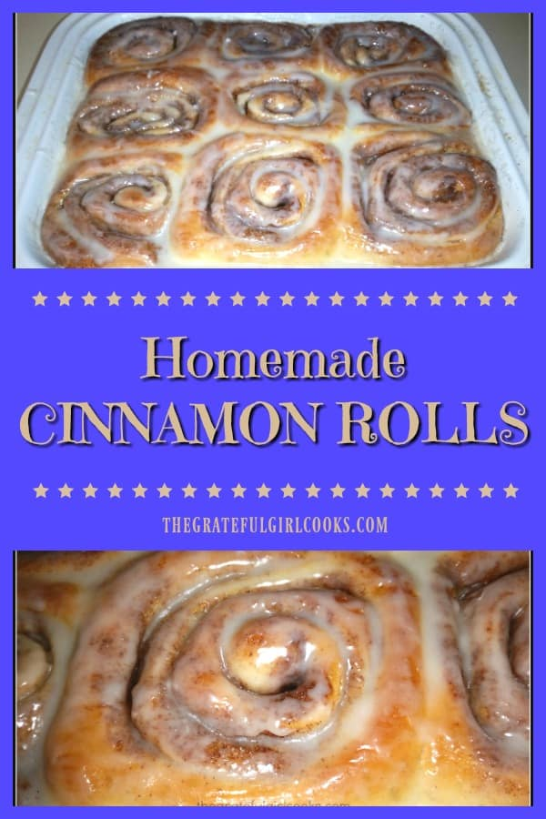 "Looking for a yummy breakfast treat? Try glazed homemade cinnamon rolls! Nothing says ""comfort food' like a warm, made from scratch cinnamon roll!"