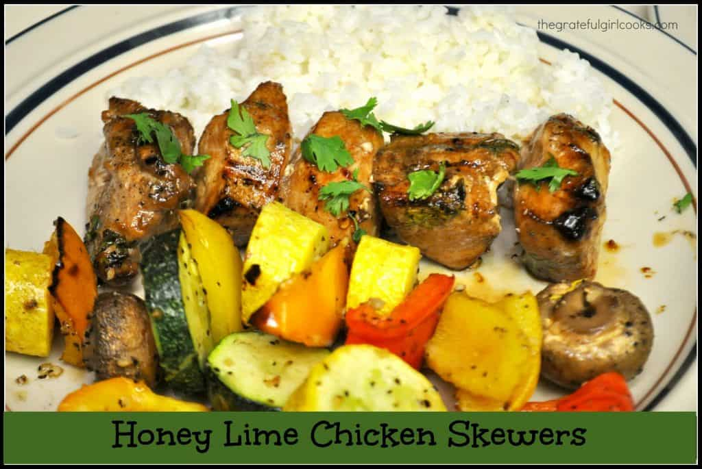 Honey lime chicken skewers, with marinated chicken breast, zucchini, yellow squash, mushrooms and bell peppers are the perfect (yummy) kabobs for grilling!