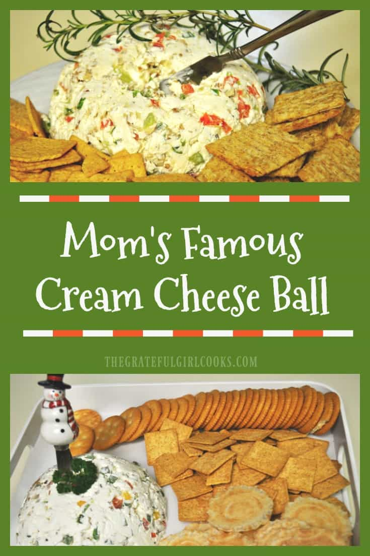 Looking for an easy, delicious appetizer? Try Mom's Famous Cream Cheese Ball, with red and green bell peppers, green onions and chopped pecans! So good!