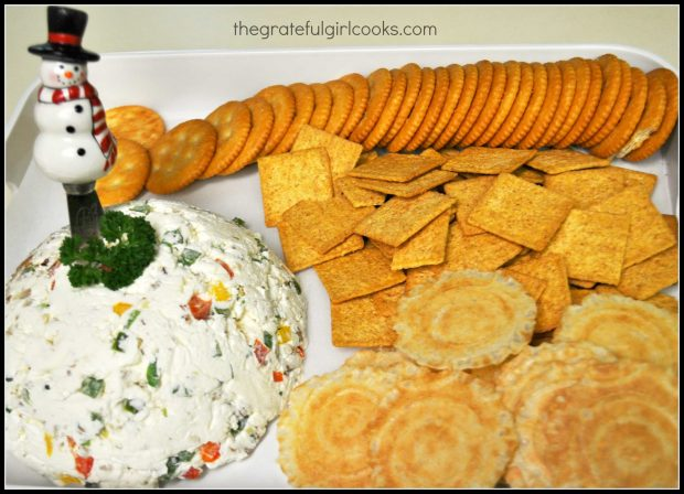 Mom's Famous Cream Cheese Ball, served as appetizer with various crackers.