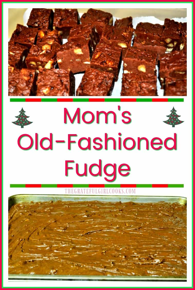 Creamy old-fashioned chocolate fudge with pecans... just the way Mom makes it for the holidays!