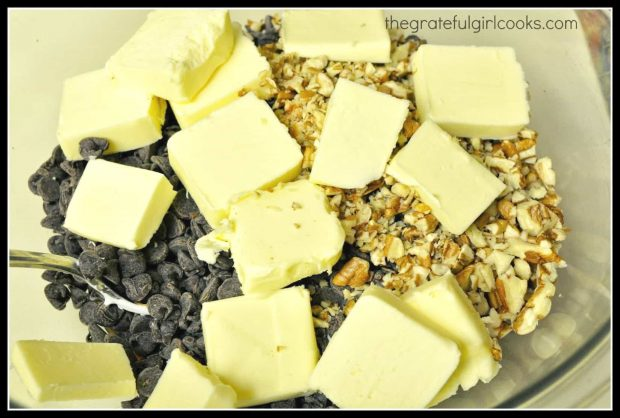 Chocolate chips, pecans, and butter are some of the ingredients used to make old fashioned fudge.
