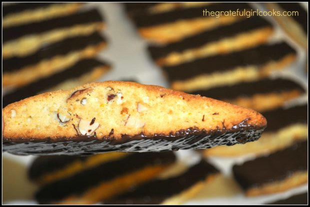 You can see the melted chocolate on the bottom of the orange almond biscotti.