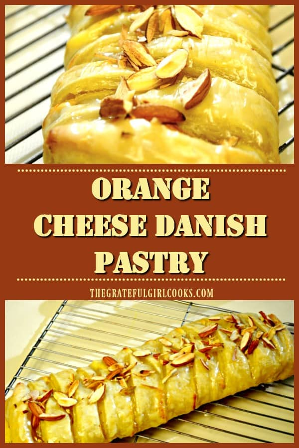Enjoy a delicious Orange Cheese Danish Pastry, a buttery, orange-glazed treat filled with orange-flavored cream cheese and ricotta. Recipe makes 2!