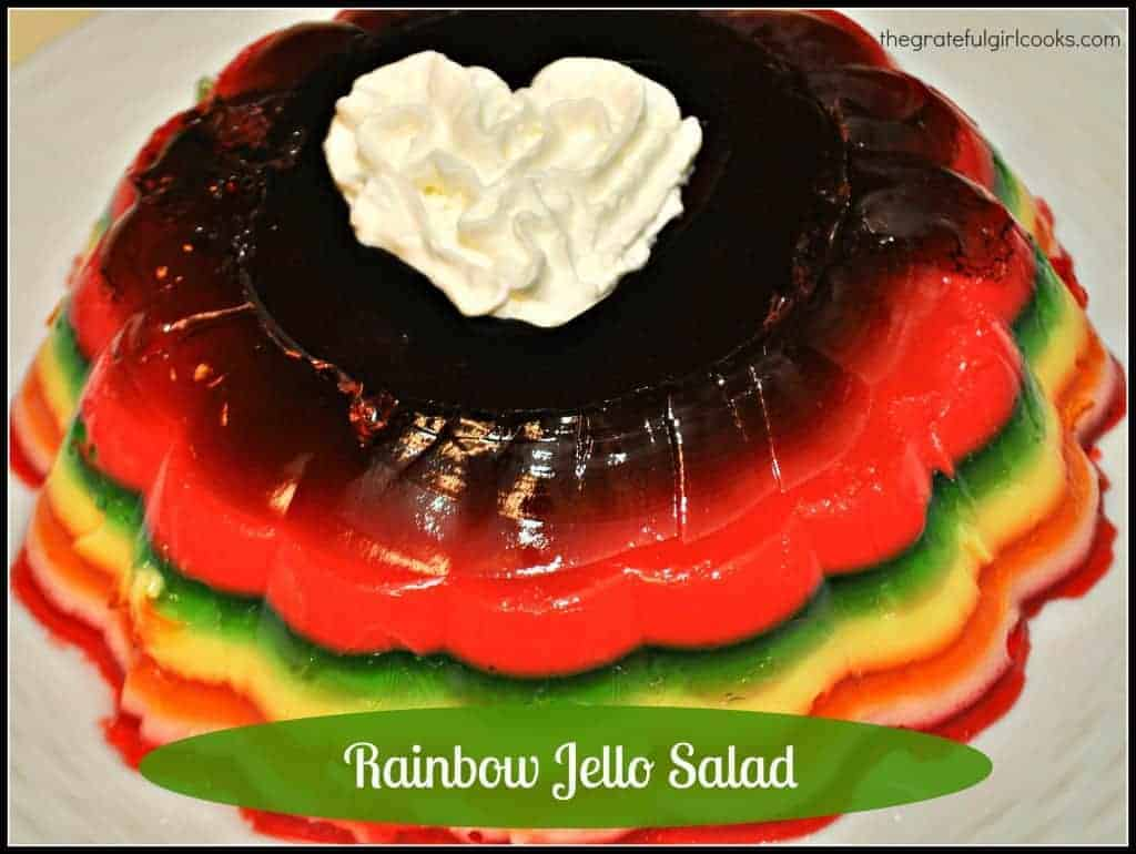 Rainbow Jello Salad / The Grateful Girl Cooks! Only a few ingredients make this a showstopper side dish for a family gathering or holiday!