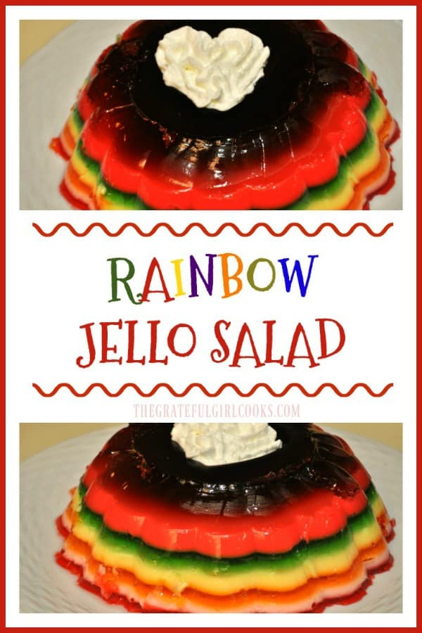 A few boxes of jello, evaporated milk and water are all you need to make this colorful and delicious holiday rainbow jello salad for a crowd!