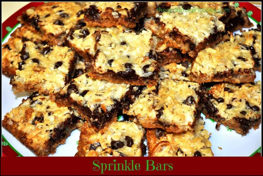 Sprinkle Bars / The Grateful Girl Cooks! Chocolate, coconut, and pecans are sprinkled on in layers in this scrumptious rich, chewy cookie. Perfectly easy dessert for the holidays, or any other time!