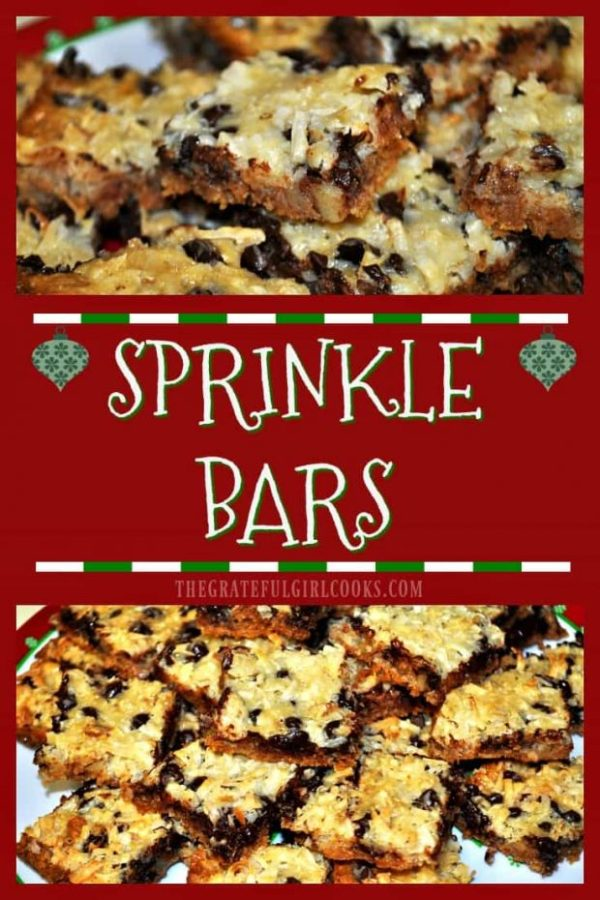 Sprinkle bars are classic chewy bar cookies with chocolate, coconut, and pecans! Perfectly easy dessert to make (serves 24) for the holidays, or anytime!