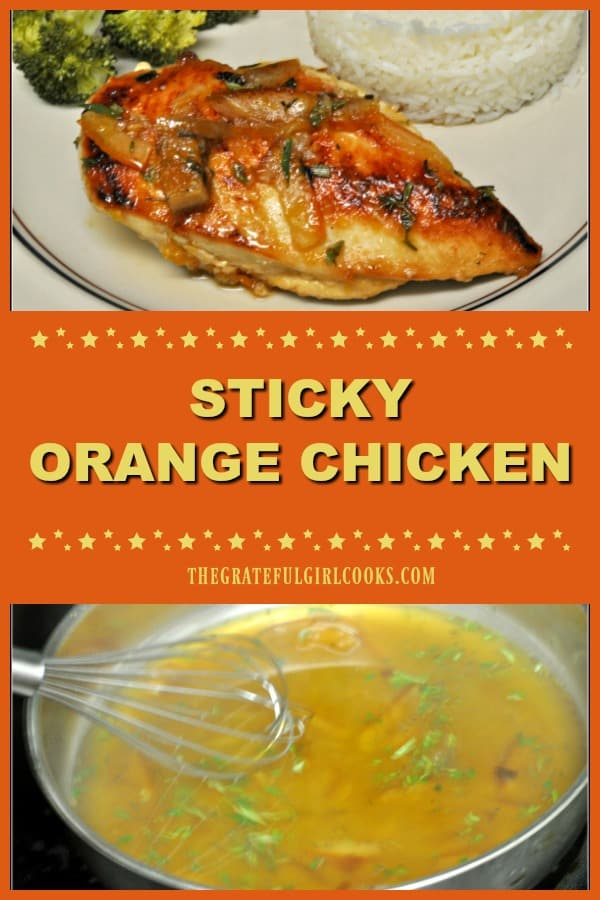 Sticky orange chicken is pan-seared chicken breasts, cooked in an orange marmalade, chicken stock, and rosemary herb based sweet and sticky sauce!