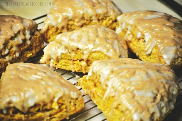 Double glazed pumpkin scones are ready to eat!
