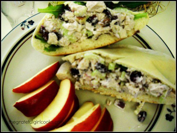 Pita bread, stuffed with chicken salad