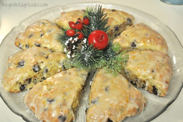 Christmas decorated platter of chocolate chip orange scones