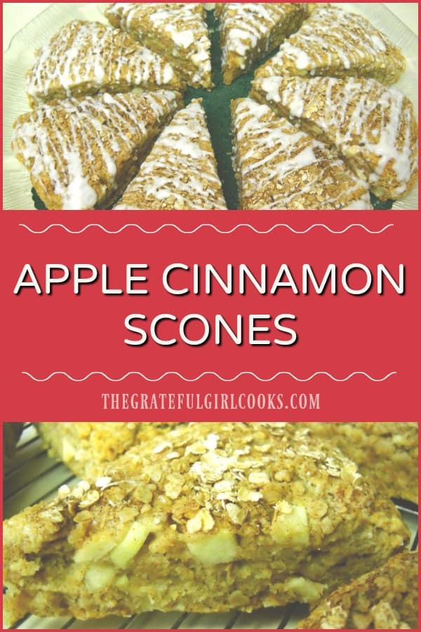 Apple Cinnamon Scones are filled with chopped fresh apples, and topped with a cinnamon/oat topping, in this easy to make, scrumptious breakfast treat!