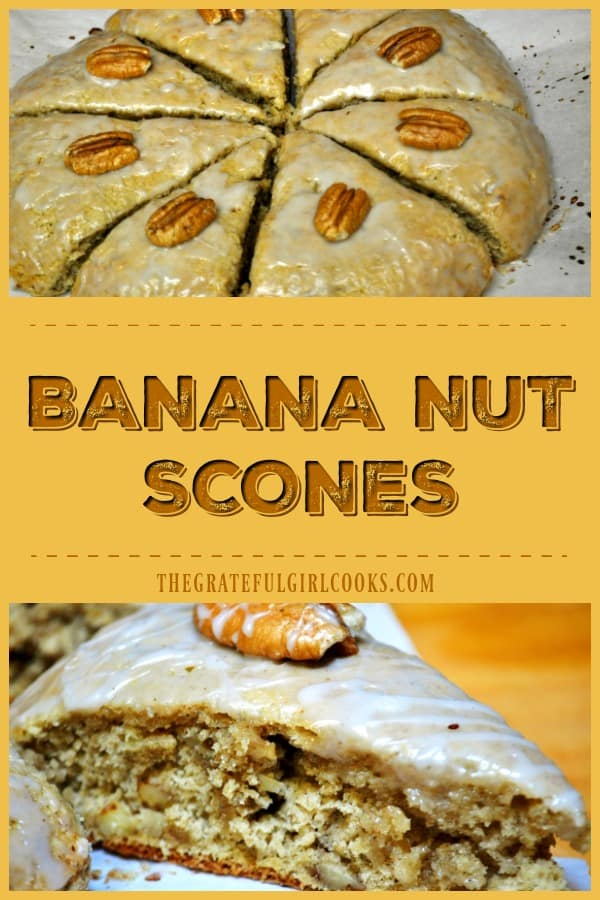 Banana Nut Scones, with pecans (or walnuts) and a banana flavored glazed icing are a delicious, easy to make treat for breakfast, brunch or a light snack!