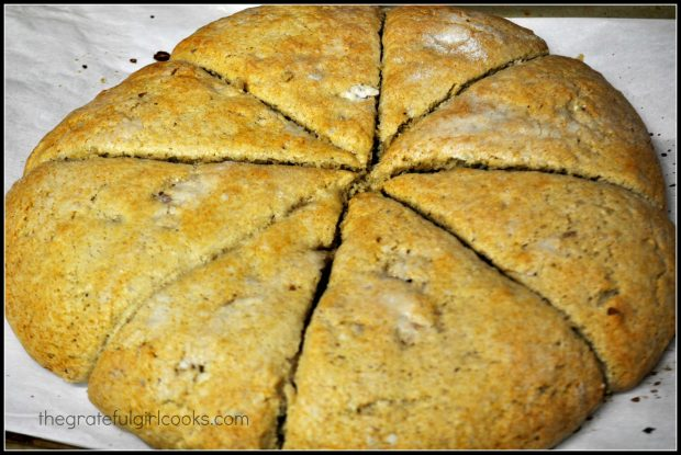 Browned banana nut scones on parchment paper