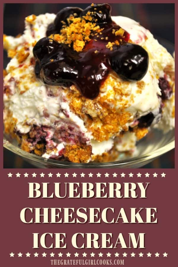 Blueberry Cheesecake Ice Cream is the PERFECT summer frozen treat! Homemade blueberry sauce cream cheese and graham cracker crumbles add to the fantastic taste!