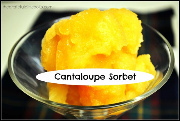 Cantaloupe Sorbet is easy to make (only 4 ingredients), and is a cold, refreshing frozen dessert treat to enjoy on a hot summer day!