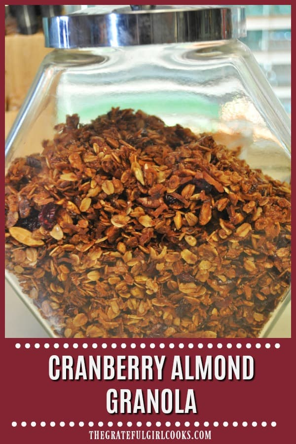 Cranberry almond granola is a yummy, easy to make homemade granola, with toasted almonds, oats, honey, cinnamon, sunflower seeds & dried cranberries!
