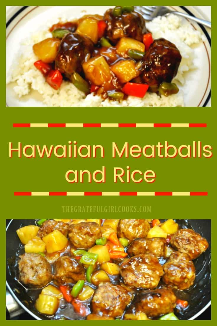 You will love these easy to prepare ground beef meatballs, cooked with pineapple, red and green bell peppers, in a sweet and sour sauce and served on a bed of rice.