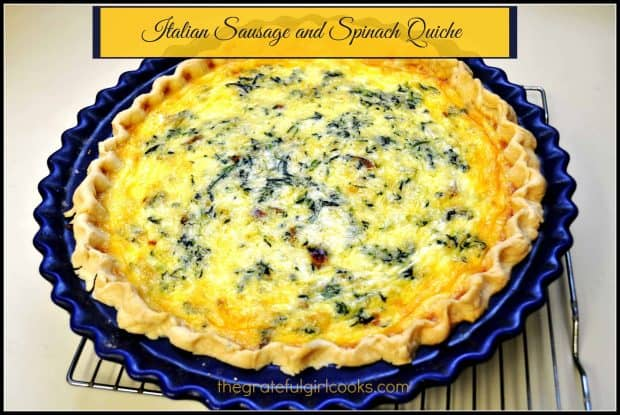This delicious Italian sausage spinach quiche (with mozzarella and Parmesan cheeses) is a meal you can enjoy for breakfast, lunch or dinner!