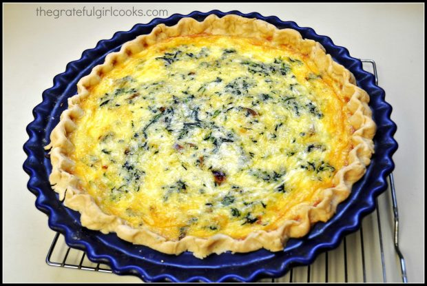 The Italian Sausage Spinach Quiche is golden brown after baking is complete.