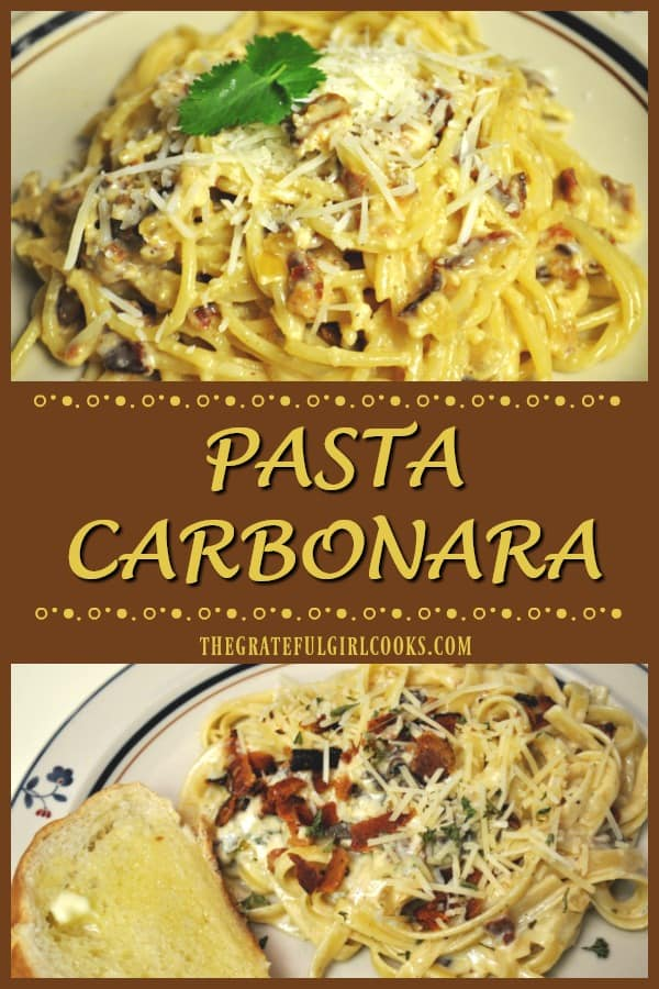 Enjoy classic Pasta Carbonara, an Italian dish with pasta cooked in a creamy bacon and onion sauce, with grated Parmesan cheese. It tastes FANTASTIC!