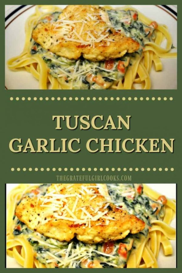 This easy, stove top Tuscan Garlic Chicken features lightly seasoned chicken, with a spinach, red pepper, garlic and Parmesan cheese sauce, on fettuccine pasta.