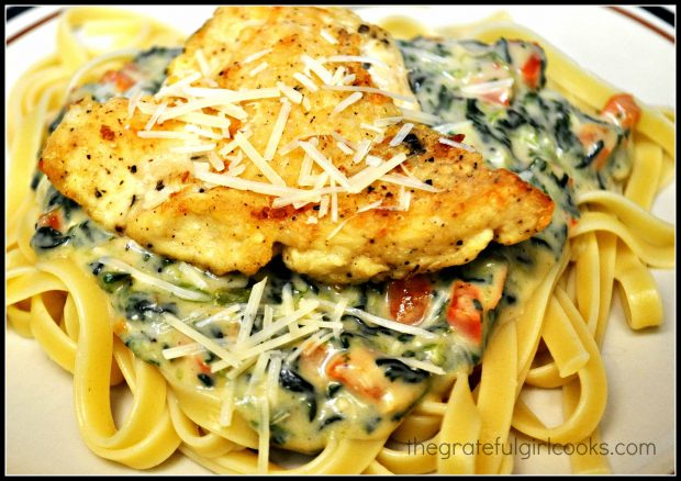 Tuscan Garlic Chicken, served on a bed of fettucine noodles.