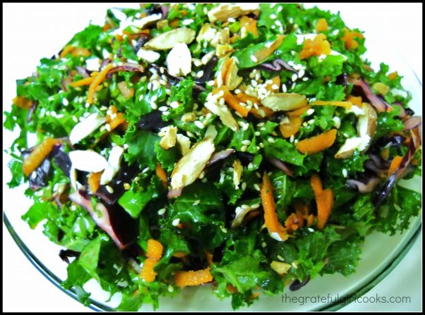 Asian kale slaw with sliced almonds on top
