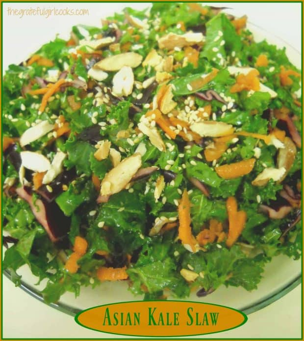 Asian kale slaw is a delicious, healthy side dish with kale, cabbage, carrots, green onions and almonds, in a fantastic Asian inspired sauce!