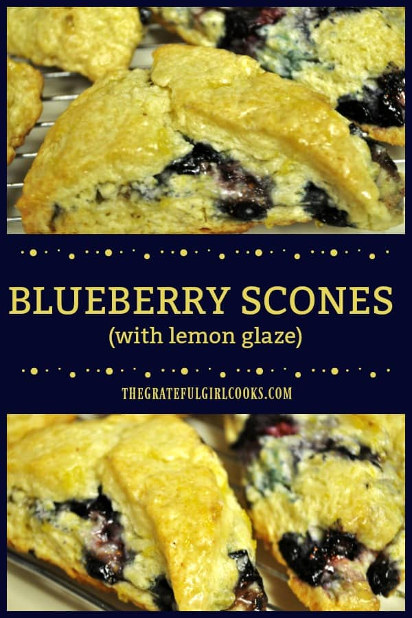 Blueberry scones, studded with plump juicy blueberries, and topped with a tangy sweet lemon glaze, are sure to be a hit for breakfast or snack time!