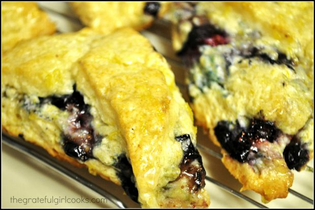 Close up photo of the blueberry scones.