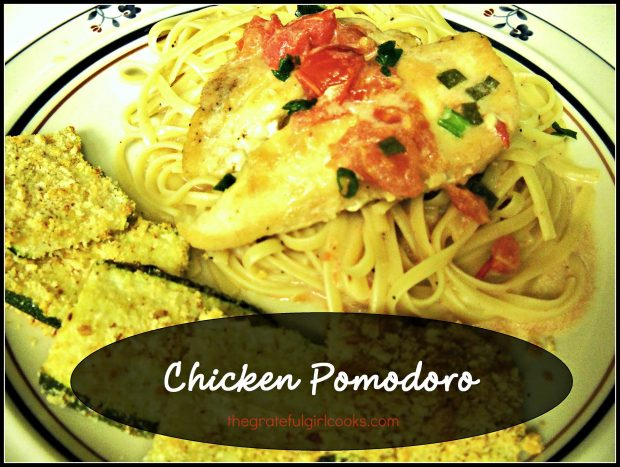 Chicken Pomodoro is an easy 30 minute Italian meal, with pan-seared chicken cutlets in a simple tomato/cream sauce, served over linguine or fettucine.