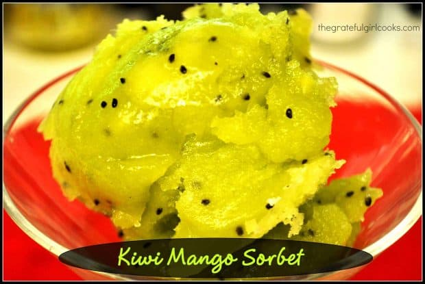 Five simple ingredients are the only ingredients needed to make absolutely delicious Kiwi Mango Sorbet! A refreshing frozen treat on hot summer days!