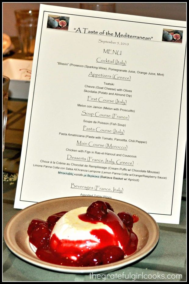 Lemon Panna Cotta, with a menu for our themed dinner.