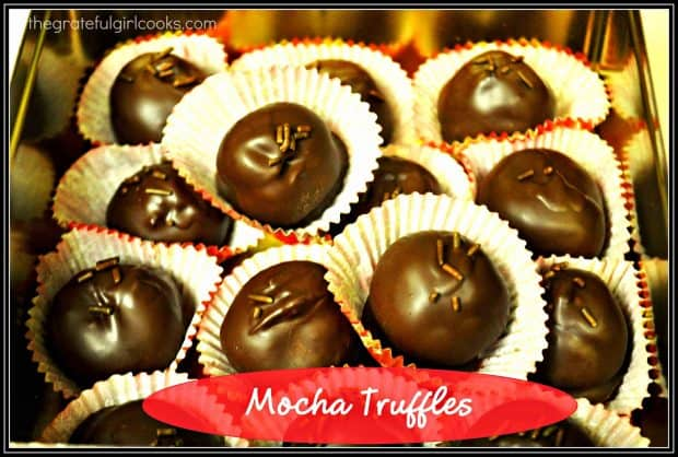 "I LOVE to make truffles for our family and friends to enjoy any old time of the year. One of my ""traditions"" is to make Mocha Truffles each year at Christmas time, along with a couple other kinds of truffles."