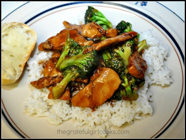 P.F. Chang's Ginger chicken and broccoli are served on top of white rice.