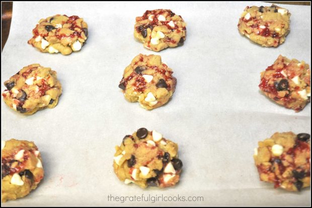 Chocolate Raspberry Cookies are formed and placed onto baking sheet.