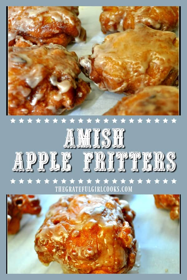 Amish Apple Fritters are delicious fried doughnuts, made easily from scratch with a simple batter and fresh apple chunks, cinnamon, and a sweet glaze.