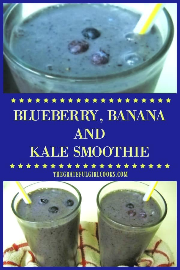 A healthy blueberry banana kale smoothie, with strawberries, almond milk and flaxseed is a delicious cold beverage treat for breakfast or any time of day!