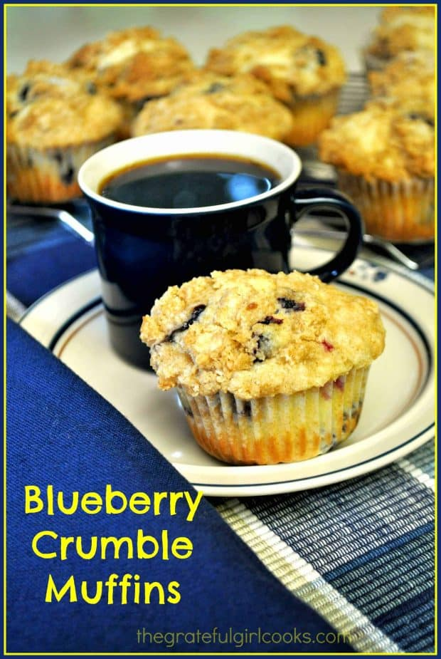 "Blueberry crumble muffins are delicious breakfast treats, packed with blueberries (fresh or frozen) and a streusel topping! Perfect ""on the go"" breakfast!"