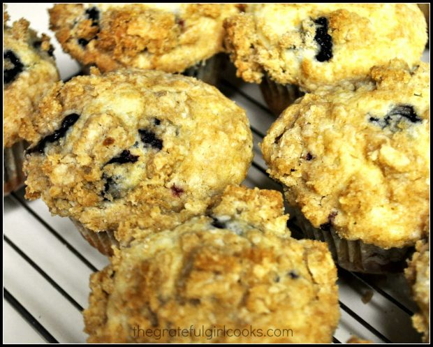 Blueberry crumble muffins, ready to eat.