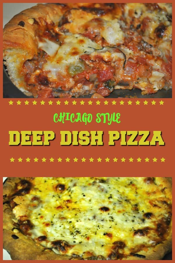 Make a delicious Chicago-style deep dish pizza from scratch, with 3 cheeses, sausage, pepperoni, tomatoes, green peppers and mushrooms.