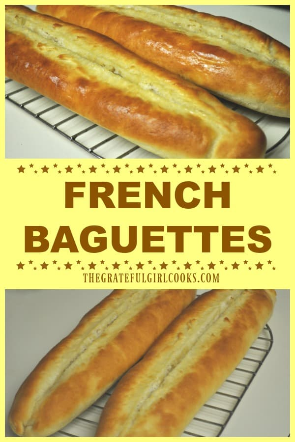 Nothing beats the smell of homemade, freshly baked bread! Enjoy a slice of a French Baguette, served warm with butter! Recipe makes 2 loaves.