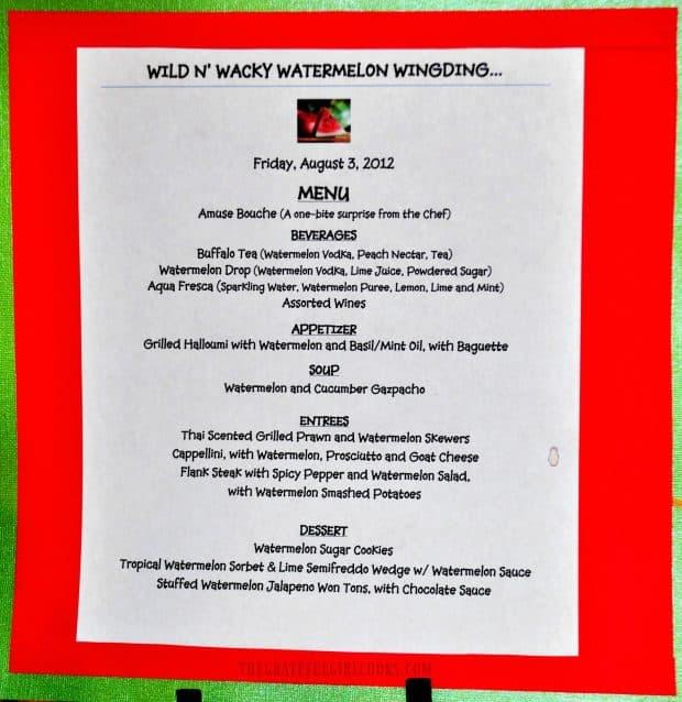 Menu from watermelon themed dinner