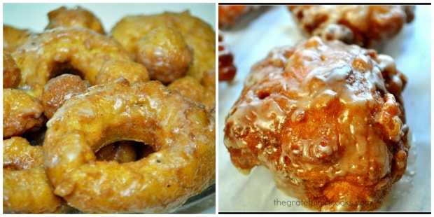 Collage of glazed pumpkin buttermilk doughnuts (L) and Amish apple fritters (R).